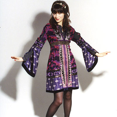 The pattern is a little more boho than her usual style but the shape is true Zooey.