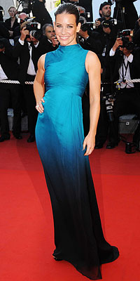 Evangeline Lilly in ombre and mermaid-like Valentino.