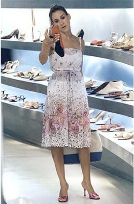 Buying shoes, per usual. Lovely floral.