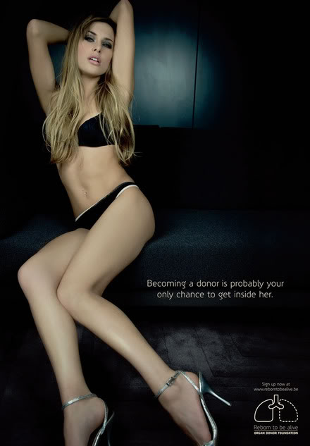 Outrageous organ donation ad with sexy female