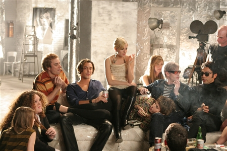 "Sienna-a veritable party gal herself-at a Warhol shindig in ""Factory Girl."""