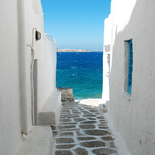 Beautiful Greek island architecture and sea