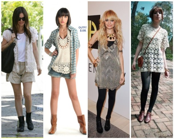 Some bohemian-infused crochet outfits.