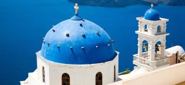 Beautiful blue roof on Greek building