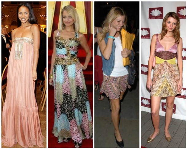 Joy Bryant, Nicole Richie, Sienna Miller, and Mischa Barton in Missoni