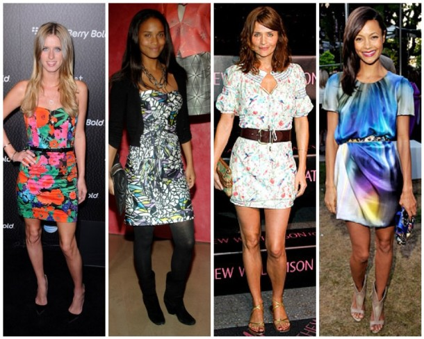 Nicky Hilton, Joy Bryant, Helena Christensen and Thandie Newton in Matthew Williamson