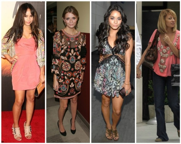 Zoe Kravitz, Mischa Barton, Vanessa Hudgens and Nicole Richie in Matthew Williamson