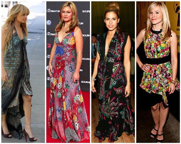 Nicole Richie, Julia Stiles, Eva Mendes and Kristen Bell wearing Etro