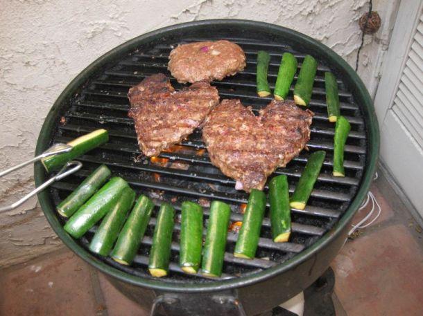 Heart-shaped veggie burgers!