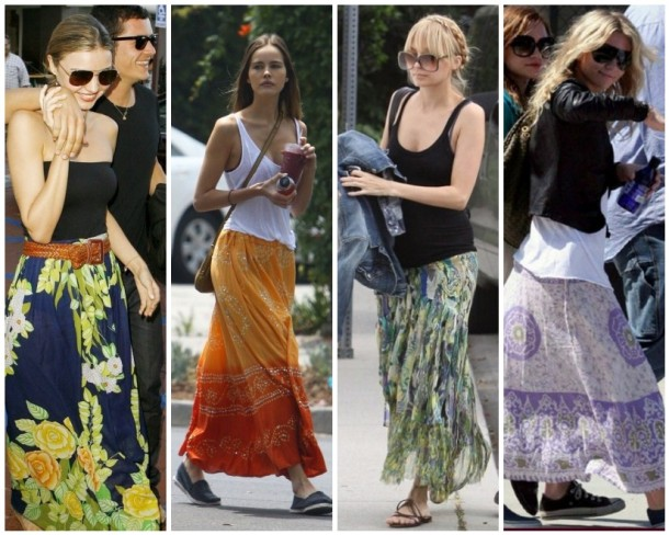 Ashley Olsen, Isabel Lucas, Miranda Kerr, and Nicole Richie in long summer skirts.