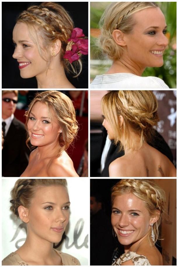 Rachel Mcadams, Diane Kruger, Lauren Conrad, Nicole Richie, Scarlett Johansson and Sienna Miller in bohemian braided updo hairstyles