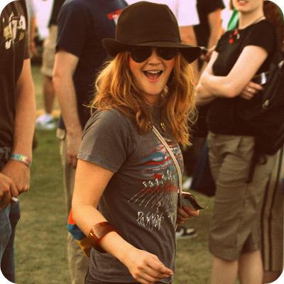 Drew Barrymore, Enjoying Coachella in sunglasses