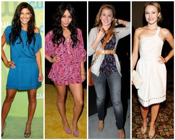 Jessica Szohr, Vanessa Hudgens, Lo Bosworth and Kristen Bell in Rebecca Taylor