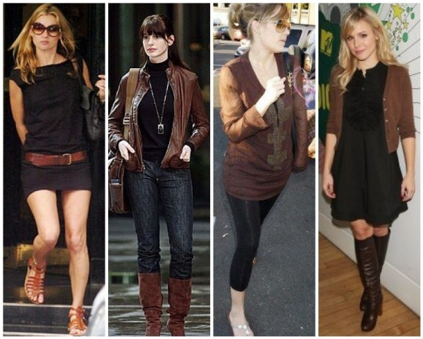 Kate Moss, Anne Hathaway, Lauren Conrad and Kristen Bell mix brown and black in their chic outfits