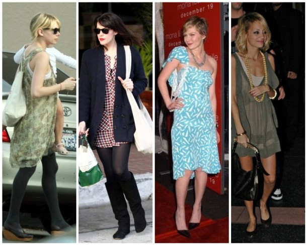 Michelle Williams in an Isabel Marant dress and black tights, Liv Tyler in an Isabel Marant frock, and Kirsten Dunst and Nicole Richie in Isabel Marant