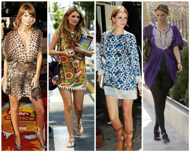 Mischa Barton in Roland Mouret, a psychedelic Juicy Couture shift, Bebe, and a vintage tunic.