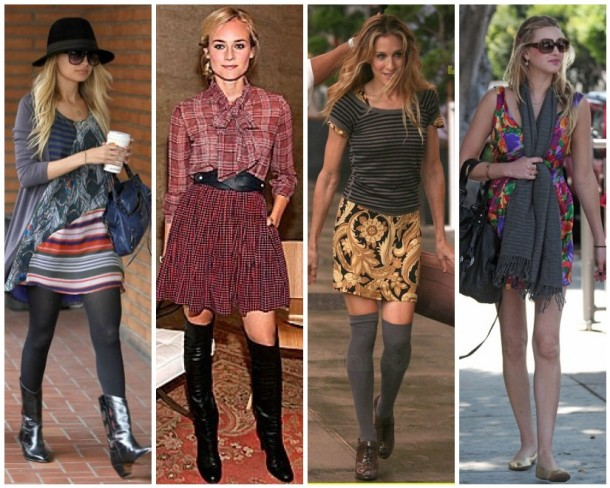 Mixed prints worn to perfection by Nicole Richie in Elizabeth and James, Diane Kruger, Sarah Jessica Parker as Carrie Bradshaw and Whitney Port.