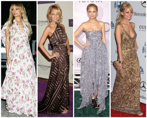 Nicole Richie brings bohemian to the red carpet in vintage floral, a Costume National gowm, a glittering Reem Acra number and paisley Alexander Mcqueen.