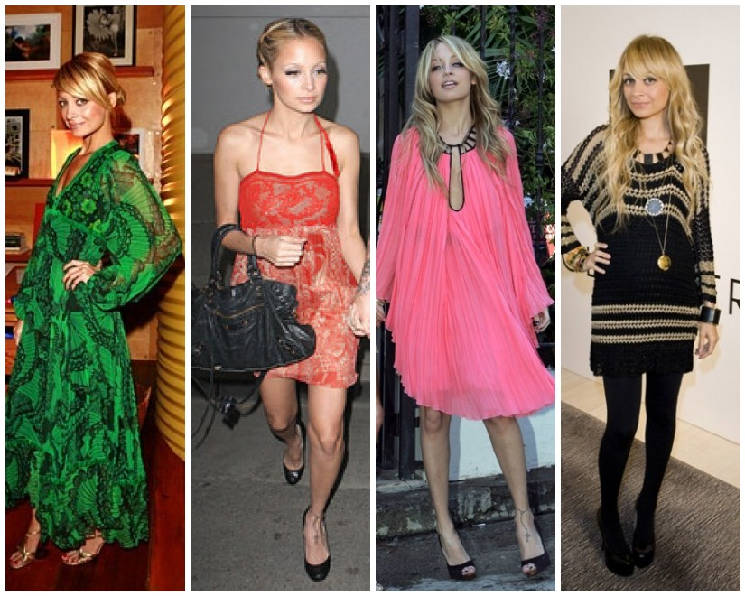 4e67ead30fd7d Nicole Richie looks boho chic in green vintage Thea Porter, a red cocktail  dress,