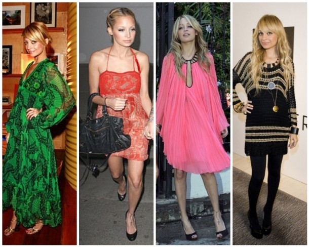 Nicole Richie looks boho chic in green vintage Thea Porter, a red cocktail dress, hot pink Emilio Pucci and black tights and House of Harlow.