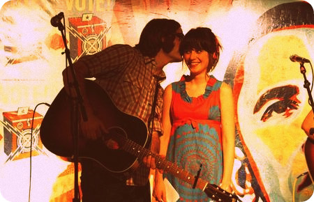 Ben Gibbard and Zooey Deschanel making music