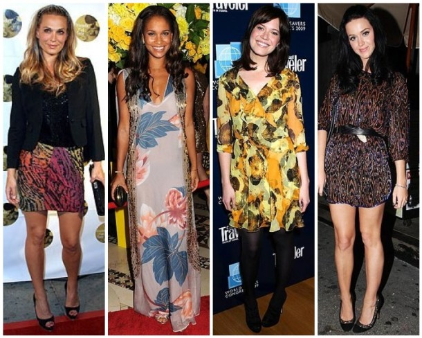 Molly Sims in graphic, Joy Bryant in Missoni, Mandy Moore wearing my favorite trend of the season-the mini dress, and Katy Perry looking atypically bohemian.