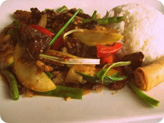 """Beef"" Lemongrass and jasmine rice"