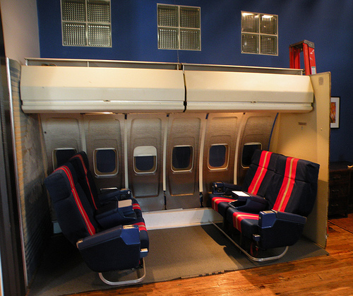 Airplane seats in a loft