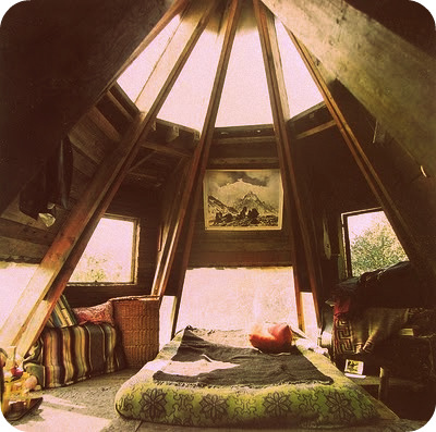Bohemian bedroom with interesting ceiling