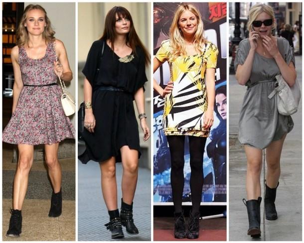 Diane Kruger, Sienna Miller, Kirsten Dunst and Mischa Barton wearing ankle boots