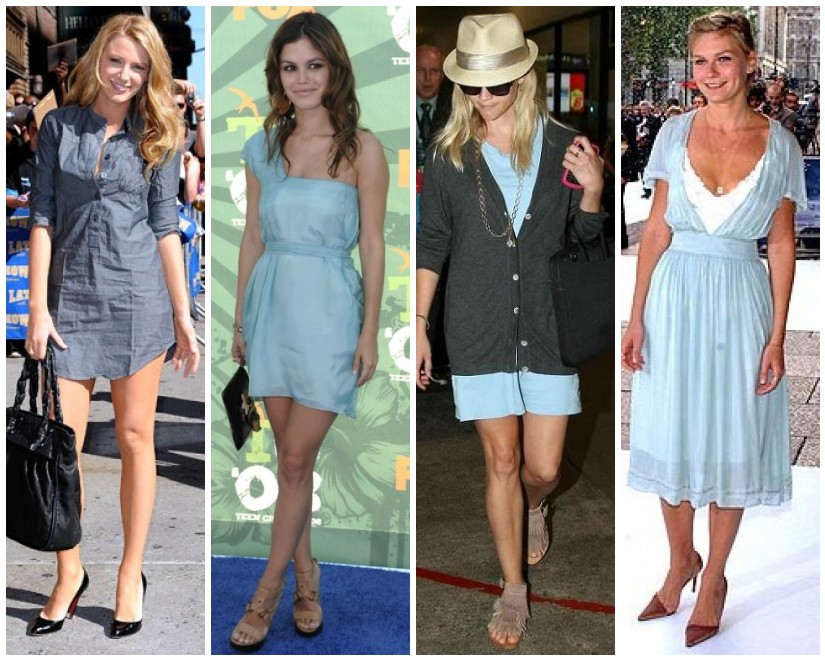 Blake Lively, Rachel Bilson, Reese Witherspoon and Kirsten Dunst in light pastel blue dresses