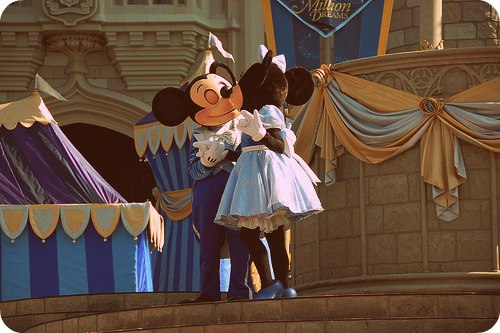 Mickey and Minnie hugging