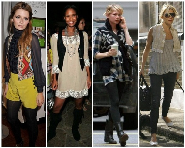 Mischa Barton, Joy Bryant, Michelle Williams and Sienna Miller in vests